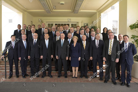 Tony Abbott Tony Abbott, fourth from the left, poses for an official photo with his ministry after being sworn in as the 28th prime minister of Australia by Governor General Quentin Bryce at Government House in Canberra