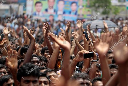 Bangladesh Awami League supporters raise their hands in support of Sajeeb Wazed Joy, 42, the son of Prime Minister Sheikh Hasina, at an election campaign rally in Mymensingh, near Dhaka, Bangladesh. Political observers in Bangladesh say that given a few years Joy or Tarique Rahman, the 45-year-old son of opposition leader Khaleda Zia, could become prime minister of Bangladesh, which has been ruled by their two families since the country's 1971 independence from Pakistan. Joy and Rahman have emerged as the country's most powerful political heirs