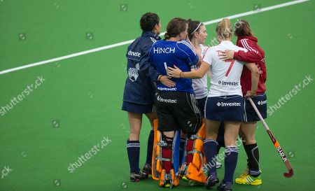 Georgie Twigg, Maddie Hinch England's Georgie Twigg, second right, consoles goaltender Maddie Hinch, second left, after England lost a final match against Germany during the women's TriFinance Euro Hockey at the Braxgata Hockey Club, in Boom, Belgium on