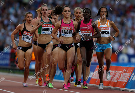 Shannon Rowbury, Irine Chebet Cheptai Shannon Rowbury of United States, center, and Irine Chebet Cheptai of Kenya, second right, lead the field in the women's 3000m during the Diamond League athletics meet at The Stadium in Queen Elizabeth Olympic Park, London, . The athletics meet marks the anniversary of the London 2012 Olympic Games