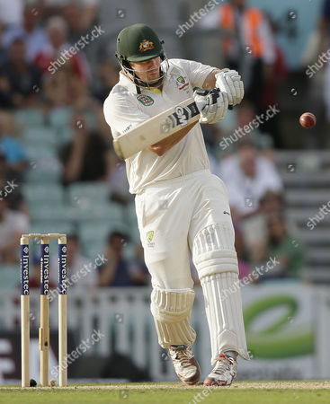 Australia's Shane Watson plays a shot off the bowling of England's Chris Broad that led to him being caught out by England's Kevin Pietersen off the bowling of for 176 runs during play on the first day of the fifth Ashes cricket Test at the Oval cricket ground in London