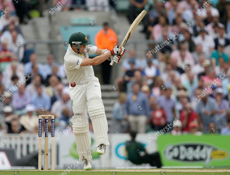 Australia's Peter Siddle is hit by a ball from England's Chris Broad during play on the second day of the fifth Ashes cricket Test at the Oval cricket ground in London