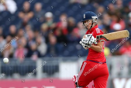 England's Charlotte Edwards plays a shot bowled by Australia's Holly Ferling during their Twenty20 cricket match at the Riverside cricket ground, Chester-le-Street, England