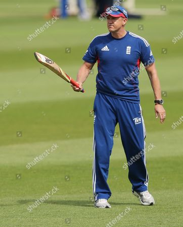 England's coach Andy Flower during a nets session two days before the start of the fourth Ashes series cricket match against Australia at the Riverside cricket ground, Chester-le-Street, England