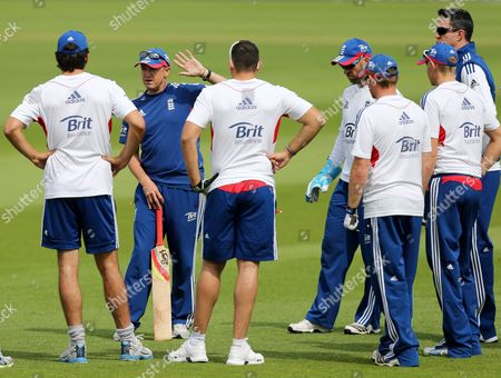 England's coach Andy Flower, second left, is seen with his sqaud during a nets session two days before the start of the fourth Ashes series cricket match against Australia at the Riverside cricket ground, Chester-le-Street, England
