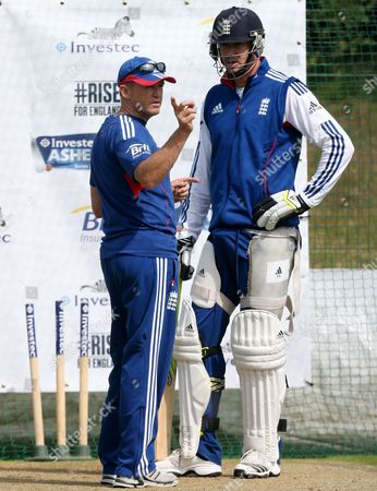 England's Kevin Pietersen, right, is seen with coach Andy Flower, left, during a nets session two days before the start of the fourth Ashes series cricket match against Australia at the Riverside cricket ground, Chester-le-Street, England