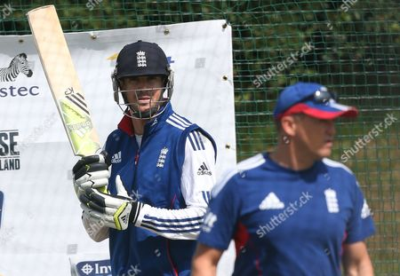 England's Kevin Pietersen, left, is seen with coach Andy Flower, right, during a nets session two days before the start of the fourth Ashes series cricket match against Australia at the Riverside cricket ground, Chester-le-Street, England