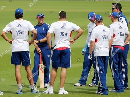England's coach Andy Flower, second left, is seen with his squad during a nets session two days before the start of the fourth Ashes series cricket match against Australia at the Riverside cricket ground, Chester-le-Street, England