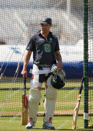 Australia's Ed Cowan prepares to bat during nets practice the day before the side's opening Ashes cricket match against England at Trent Bridge cricket ground, Nottingham, England