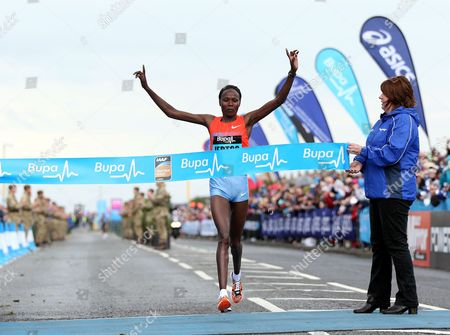 Kenya's Priscah Jeptoo wins the Great North Run, in Newcastle, England, . Kenya's Priscah Jeptoo, won the race ahead of Ethiopia's Meseret Defar, and third placed Ethiopian Tirunesh Dibaba