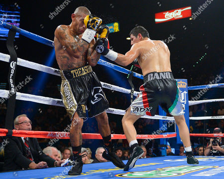 Pablo Cesar Cano, Ashley Theophane Pablo Cesar Cano, right, throws body punches against Ashley Theophane in the third round during a welterweight fight, in Las Vegas