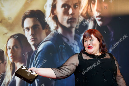 """Stock Photo of Cassandra Clare Author Cassandra Clare, whose real name is Judith Rumelt, poses for the media during her arrival for the Germany premiere of the movie """"The Mortal Instruments: City of Bones"""" in Berlin, Germany"""