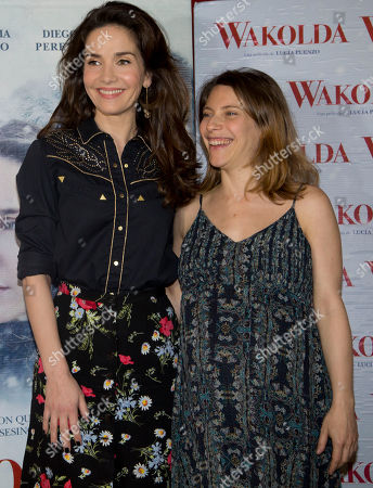 """Stock Picture of Natalia Oreiro, Elena Roger Actresses Elena Roger, right, and Natalia Oreiro pose for pictures during a photo session promoting their film """"Wakolda"""" in Buenos Aires, Argentina"""
