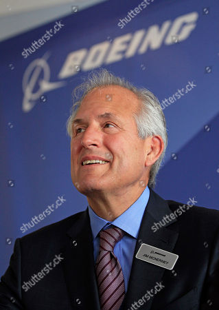 Boeing Company chairman and chief executive officer Jim McNerney, during a press conference, in Le Bourget, France, . Boeing Corp. is starting work on a stretched-out version of its popular 787 Dreamliner jet, in the hope of reigniting interest in the aircraft after battery-related problems. Boeing announced the formal launch of its 787-10 program at the Paris Air Show on Tuesday and says it already has commitments from several customers, including United Airlines