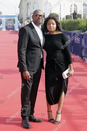 "Forest Whitaker, Sonnet Whitaker Actor Forest Whitaker, left, and his daughter Sonnet arrive for the screening of the film ""The Butler"" at the 39th American Film Festival, in Deauville, Normandy, western France"