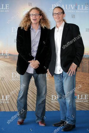 """Noah Miller, Logan Miller Directors Noah Miller, left, and twin brother Logan Miller pose during a photo call for their film """"Sherif Jackson"""" at the 39th American Film Festival, Sunday, Sept. 1, 2013, in Deauville, Normandy, western France"""