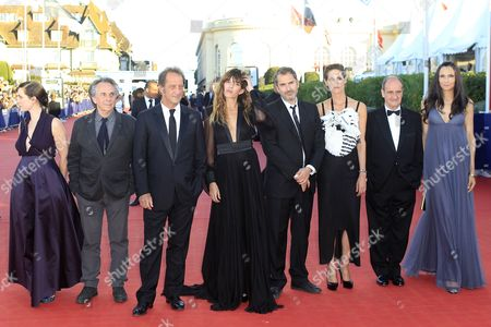 Rebecca Zlotowski, Lou Doillon, Vincent Lindon, Famke Janssen,Helene Fillieres, Bruno Nuytten, Pierre Lescure, Xavier Giannoli Jury members, from left, director Rebecca Zlotowski, director Bruno Nuytten, jury president, actor Vincent Lindon, actress and singer Lou Doillon, director Xavier Giannoli, actress Helene Fillieres, journalist and businessman Pierre Lescure and actress Famke Janssen arrive for the awards ceremony at the 39th American Film Festival, in Deauville, Normandy, western France