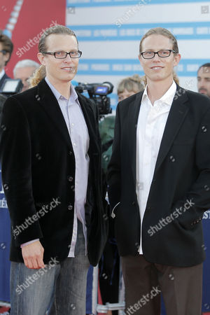 Logan Miller, Noah Miller Directors Logan Miller, right, and his twin brother Noah Miller arrive for the awards ceremony at the 39th American Film Festival, in Deauville, Normandy, western France
