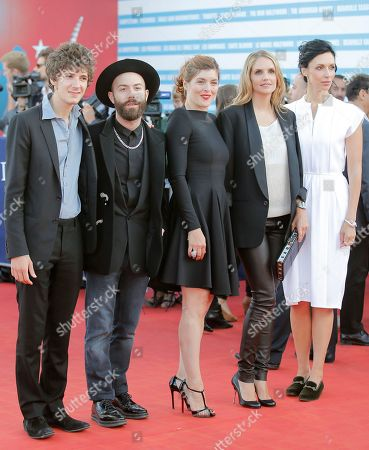 Vincent Lacoste, Woodkid, Valerie Donzelli, Laurence Arne, Geraldine Maillet Jury members, from left, actor Vincent Lacoste, director, musician and graphic designer Woodkid, jury president of the Cartier Revelation prize, Valerie Donzelli, jury members, actress Laurence Arne and author and director Geraldine Maillet arrive for the awards ceremony at the 39th American Film Festival, in Deauville, Normandy, western France