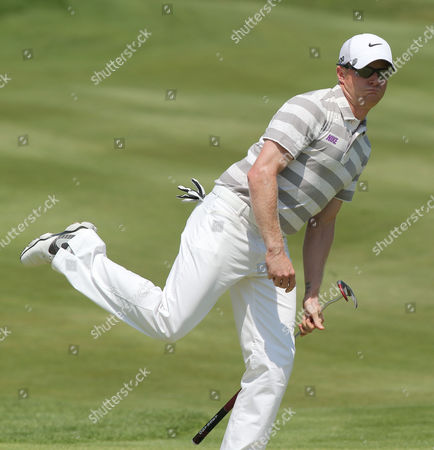 Simon Dyson Simon Dyson of England reacts after missing a putt at the third hole during the final round of the French Open Golf tournament at Paris National course in Guyancourt, west of Paris