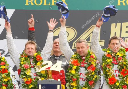Tom Kristensen, Wolfgang Ullrich, Loic Duval, Allan McNish Audi Motorsports chief Dr. Wolfgang Ullrich, rear 2nd left, with drivers, Tom Kristensen of Denmark, center right, Loic Duval of France, right, and Allan McNish of Scotland, left, jubilate on the podium after they won the 90th 24-hour Le Mans endurance race, in Le Mans, western France