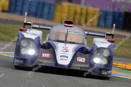 The Toyota TS-030 No7 driven by Alexander Wurz of Austria, Nicolas Lapierre of France and Kazuki Nakajima of Japan is seen in action during the free practice session of the 90th 24-hour Le Mans endurance race, in Le Mans, western France, . The race will begin on Saturday, June 22