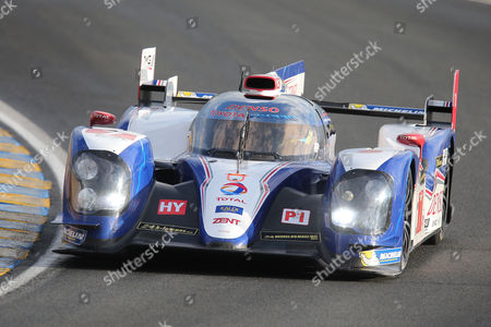 The Toyota TS-030 No7 driven by Alexander Wurz of Austria, Nicolas Lapierre of France and Kazuki Nakajima of Japan is seen in action during the qualifying practice session of the 90th 24-hour Le Mans endurance race, in Le Mans, western France, . The race will begin on Saturday, June 22