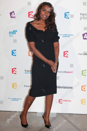 French TV host Samira Ibrahim poses during a photocall prior to the France Televisions new season press conference, in Paris