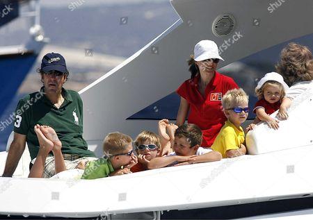 Jaime de Marichalar, Prince Miguel, Prince Juan Valentin, Prince Froilan, Crwon Princess Letizia, Price Pablo Nicolas, Princess Leonor aboard royal yacht Somni