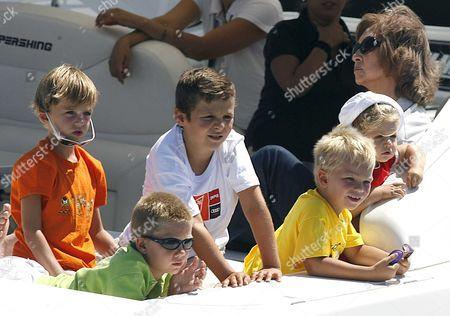 Prince Miguel, Prince Juan Valentin, Prince Froilan, Prince Pablo Nicolas, Princess Leonor and Queen Sofia aboard royal yacht Somni