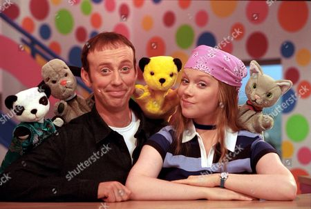 'Sooty Heights'   TV Presenters Richard Cadell and Vicki Lee Taylor with puppets Soo, Sweep, Sooty and Mikki.