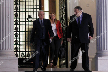 Evangelos Venizelos Fotis Kouvelis Socialist party leader Evangelos Venizelos, right, and leader of Democratic Left party Fotis Kouvelis, left, leave the Prime minister's office after a meeting with Antonis Samaras, in Athens, . Greece's governing coalition parties failed to end a political crisis triggered by the closure of state broadcaster ERT, but said talks would continue Thursday to try and avoid a snap election