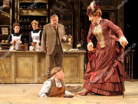 John Savident as Horatio Hobson, Judith Paris as Mrs Hepworth and Richard Kane as Tubby Wadlow