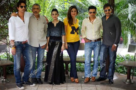 "Stock Photo of Arjun Rampal, Prakash Jha, Amrita Rao, Kareena Kapoor, Manoj Bajpai and Ajay Devgan Bollywood director Prakash Jha, second left, and actors, from left, Arjun Rampal, Jha, Amrita Rao, Kareena Kapoor, Manoj Bajpai and Ajay Devgan, pose for photographers during a promotional event for their upcoming movie ""Satyagraha"" in New Delhi, India, . Satyagraha is the term used for the non-violent resistance initiated by Mahatma Gandhi"