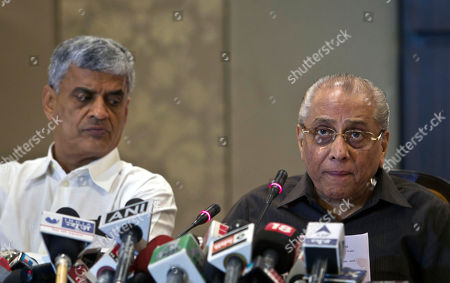 Jagmohan Dalmiya, Sanjay Patel Board of Control for Cricket in India (BCCI) interim president, Jagmohan Dalmiya, right, speaks as secretary Sanjay Patel, watches during a press conference in New Delhi, India, . The BCCI has suspended Rajasthan Royals co-owner Raj Kundra for betting on Indian Premier League games, the board said on Monday after an emergency meeting in which other aspects of an ongoing spot-fixing scandal were also discussed