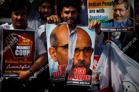 An Indian student tears a photograph of Egypt's interim Vice President Mohamed ElBaradei during a solidarity march in support of Egypt's ousted President Mohammed Morsi outside Egyptian embassy in New Delhi, India
