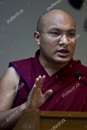 """Ogyen Trinley Dorje The 17th Karmapa Ogyen Trinley Dorje addresses the media during the launch of his book, """"The Heart Is Noble: Changing the World from the Inside Out"""", in New Delhi, India"""