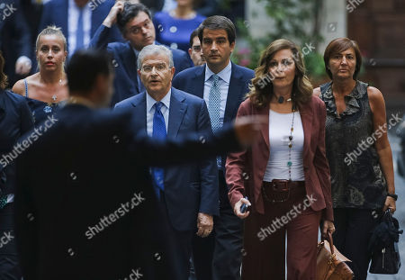 Daniela Santanche', Fabrizio Cicchitto, Renata Polverini Daniela Santanche', second right, former Platform Accomplishment Ministry's undersecretary, arrives at Berlusconi's headquarters in Rome, with some People of Freedom (Pdl) center-right party's deputies including Renata Polverini, first right, and Fabrizio Cicchitto, forth right, minutes after Italy's highest court upheld Berlusconi's tax fraud conviction, and ordered a review of a five-year ban on public office that was part of the lower court's sentence. The court on Thursday confirmed the four-year prison sentence, and ordered another court to determine the length of a public office ban