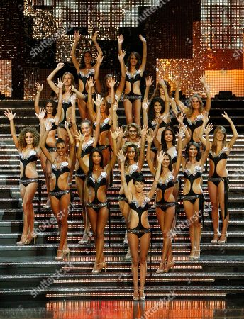 Taken on Sept 14, 2009, participants in the Miss Italia (Miss Italy) 2010 beauty contest perform on stage, in Salsomaggiore, Italy. Miss Italia's finals have been shown aired on RAI state-run television for 25 years, but not this year, the broadcaster's general director Luigi Gubitosi announced, in a step apparently reflecting efforts in Italy to improve the image of women, frequently portrayed as sex objects as well as dwindling viewing audiences