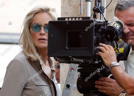 "Sharon Stone Actress Sharon Stone looks on during in the shooting of the movie ""Un ragazzo d'oro"", by Italian director Pupi Avati, outside Rome's Santa Maria dei Miracoli Church"