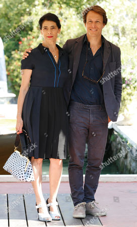 Stock Image of Abbas Hiam, Roberto Zibetti Actress Abbas Hiam, left and actor Roberto Zibetti arrive at the 70th edition of the Venice Film Festival held from Aug. 28 through Sept. 7, in Venice, Italy