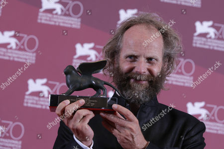 Philip Groning Director Philip Groning with the Special Jury Prize for his film The Police Officer's Wife, during the awards photo call at the 70th edition of the Venice Film Festival in Venice, Italy