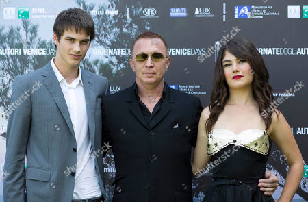 Katie Boland, Pier-Gabriel Lajoie, Bruce Labruce Actors Pier-Gabriel Lajoie, left, and Katie Boland, right, pose with director Bruce Labruce during the photo call for the movie 'Gerontophilia' at the 70th edition of the Venice Film Festival held from Aug. 28 through Sept. 7, in Venice, Italy