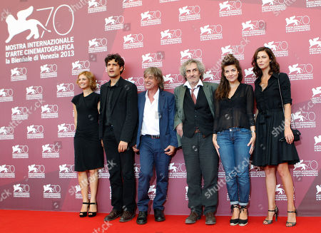 Rebecca Convenant, Louis Garrel, Jean Louis Aubert, Philippe Garrel, Esther Garrel, Anna Mouglalis From left, actors Rebecca Convenant, Louis Garrel, composer Jean Louis Aubert, director Philippe Garrel and actors Esther Garrel and Anna Mouglalis pose for photographers during the photo call of the film 'La jalousie', at the 70th edition of the Venice Film Festival held from Aug. 28 through Sept. 7, in Venice, Italy
