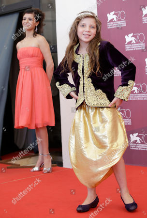 Myriam Ait El Hadj, Meriam Medjkane Actresses Myriam Ait El Hadj, right, and Meriam Medjkane pose for photographers during the photo call of the film 'Les Terrasses' at the 70th edition of the Venice Film Festival held from Aug. 28 through Sept. 7, in Venice, Italy