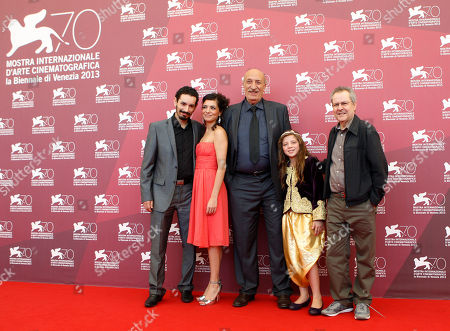 Nadjib Oulebsir, Meriam Medjkane, Hacene Benzerari and Myriam Ait El Hadj, Merzak Allouanche From left, actors Nadjib Oulebsir, Meriam Medjkane, Hacene Benzerari and Myriam Ait El Hadj, and director Merzak Allouanche pose for photographers during the photo call of the film 'Les Terrasses' at the 70th edition of the Venice Film Festival held from Aug. 28 through Sept. 7, in Venice, Italy