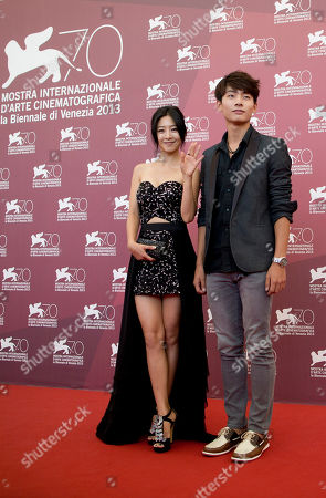 Seo Young-ju, Lee Eun-woo Actress Lee Eun-woo, left, and actor Seo Young-ju pose during a photo call for the movie 'Moebius' at the 70th edition of the Venice Film Festival held from Aug. 28 through Sept. 7, in Venice, Italy