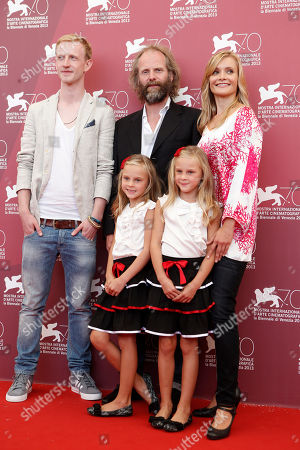 Pia Keelman, Chiara Keelman, Philip Groning, David Zimmerschied, Alexandra Finder Twins Pia Keelman, and Chiara Keelman, foreground, pose with, from back left, actor David Zimmerschied, director Philip Groning and actress Alexandra Finder during the photo call for the film The Police Officer's Wife the 70th edition of the Venice Film Festival held from Aug. 28 through Sept. 7, in Venice, Italy