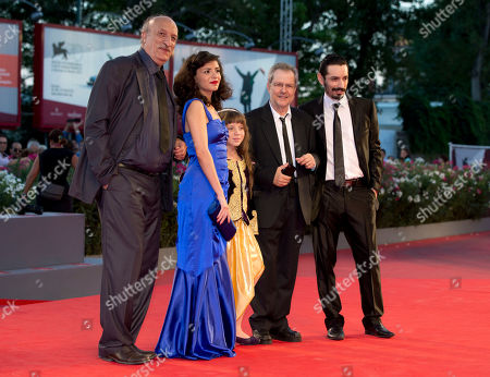 Meriem Medjkane, Myriam Ait El-Hadj, Nadjib Oulebsir, Hacene Benzerari, Merzak Allouanche From left, actors Hacene Benzerari, Meriem Medjkane, Myriam Ait El-Hadj, director Merzak Allouache and actor Nadjib Oulebsir arrive for the screening of the film 'The Roof-Tops' at the 70th edition of the Venice Film Festival held from Aug. 28 through Sept. 7, in Venice, Italy