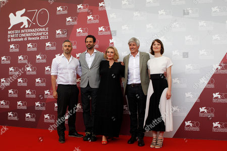 Iain Canning, Emile Sherman, Robyn Davison, John Curran, Mia Wasikowska From left, producers Iain Canning, Emile Sherman, writer Robyn Davison, director John Curran and actress Mia Wasikowska pose for photographers during a photo call for the film Tracks at the 70th edition of the Venice Film Festival held from Aug. 28 through Sept. 7, in Venice, Italy